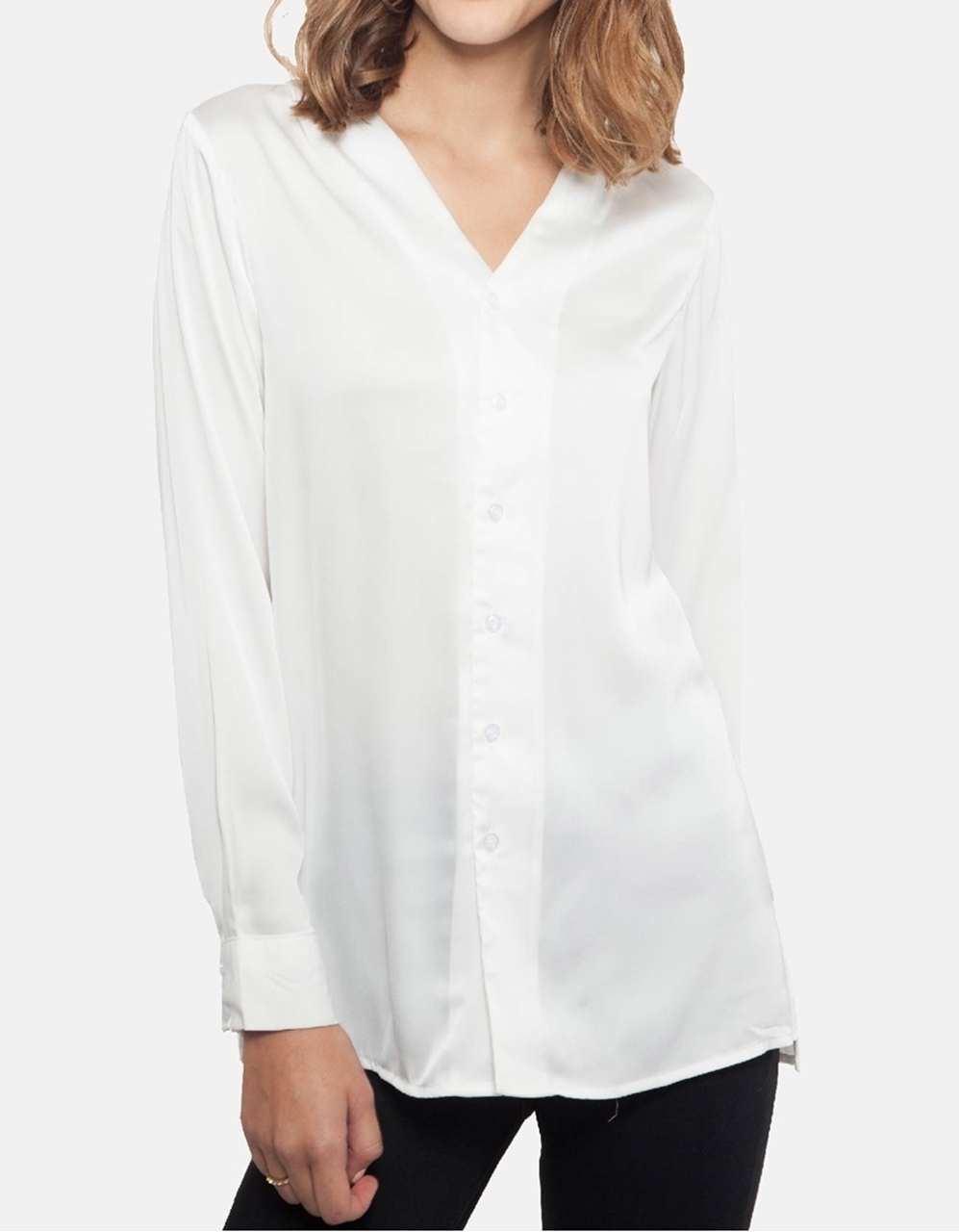 Picture of Lexie Satin-Silk Blouse in Ivory White