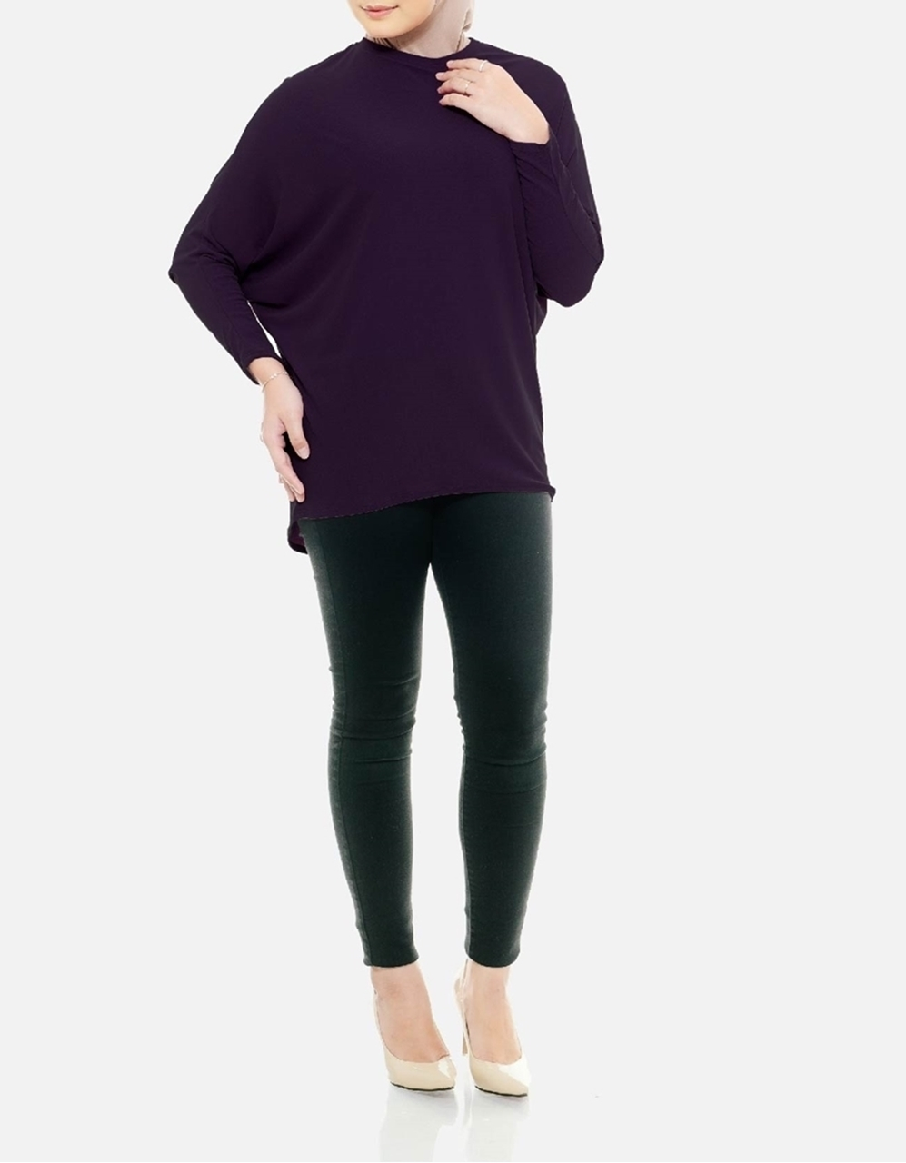 Picture of Sofea Batwing Blouse in Plum Purple